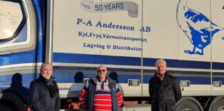 Christian Hallberg, koncernchef Tempcon Group. Per-Anders Andersson, tidigare ägare av Abbekås åkeri. Mikael Nilsson, tillträdande vd för Abbekås åkeri.