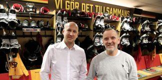 """Christoffer Bergfors, vice koncernchef på MAX och herrarnas huvudtränare tillika Luleå Hockey-profilen Thomas """"Bulan"""" Berglund"""