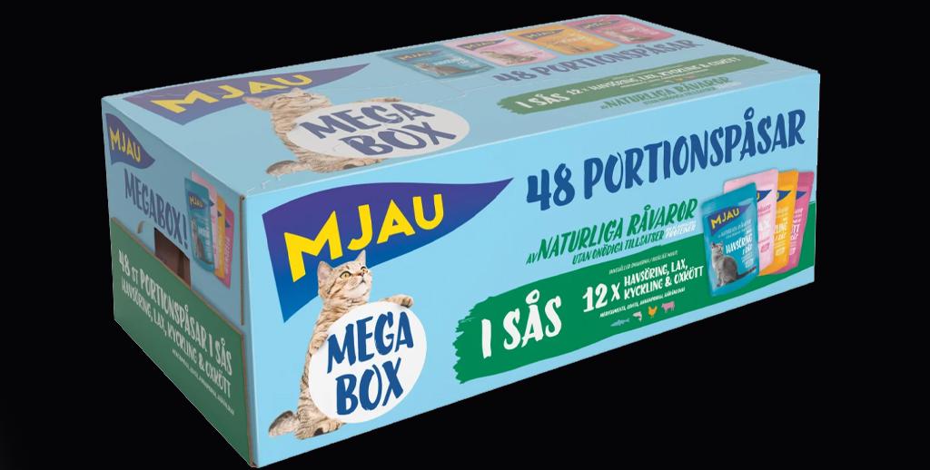 Mjau Megabox med 48 portionspåsar i sås